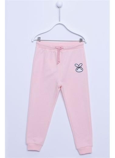 Silversun Kids Açık Sweat Pantolon Örme Armalı Beli Ve Paçası Lastikli Eşofman Altı Kız Çocuk Jp-212878 Pembe